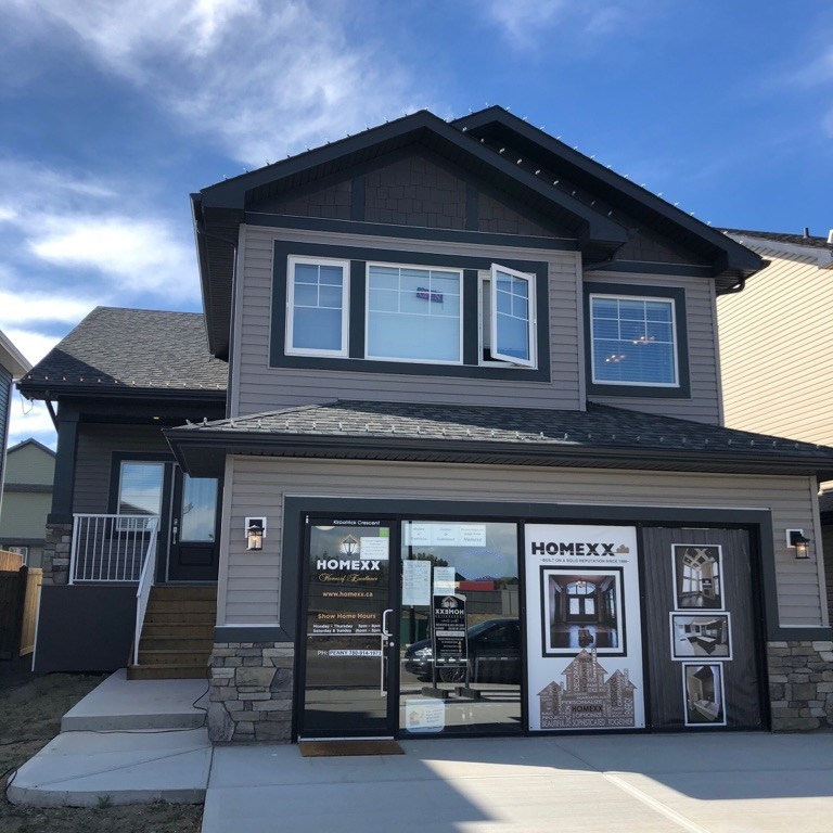 Image of the Single Family front attached showhome by Homexx located in West Haven Park in Leduc