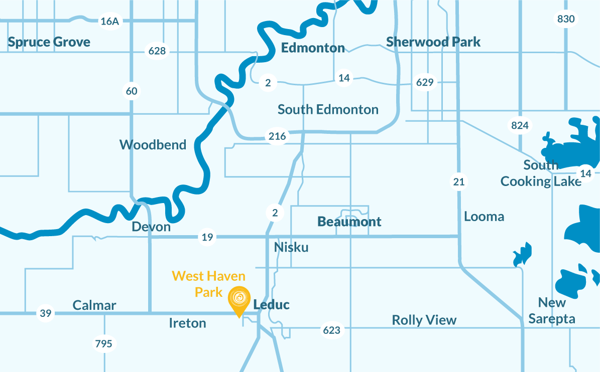 Location map of where the neighbourhood of West Haven Park is. Marking nearby cities and towns in Central Alberta. Beautiful modern homes are available for sale in West Haven.
