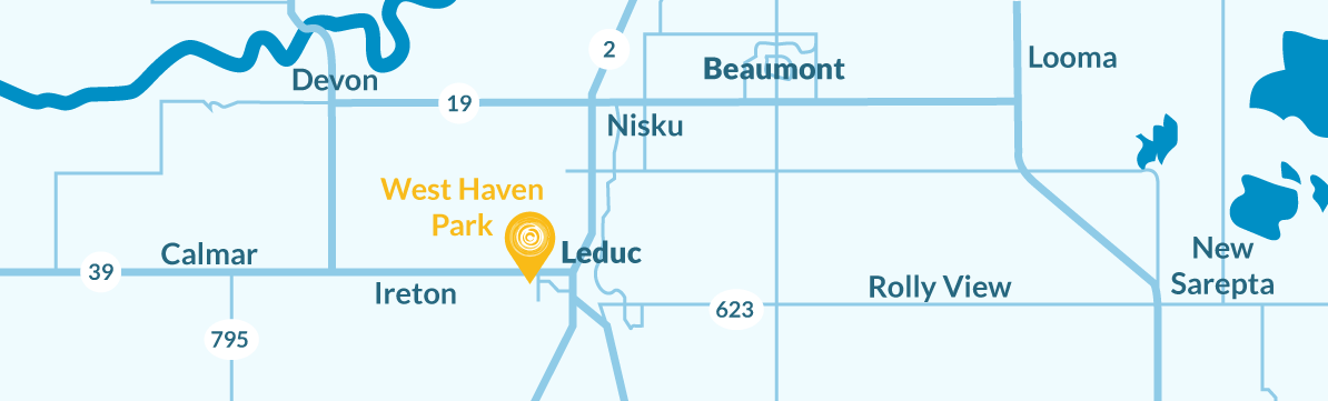 Location map of West Haven Park community location, in relation to nearby cities like Nisku, Beaumont, Ireton, Calmar, Rolly View, Devon, and New Sarepta.