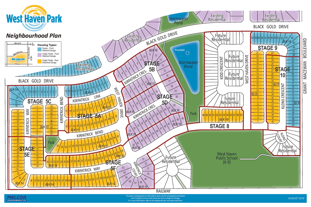 West Haven Park Neighbourhood Plan, off Black Gold Drive. Stage maps of community. Public lots available for sale in Leduc, residential communities.