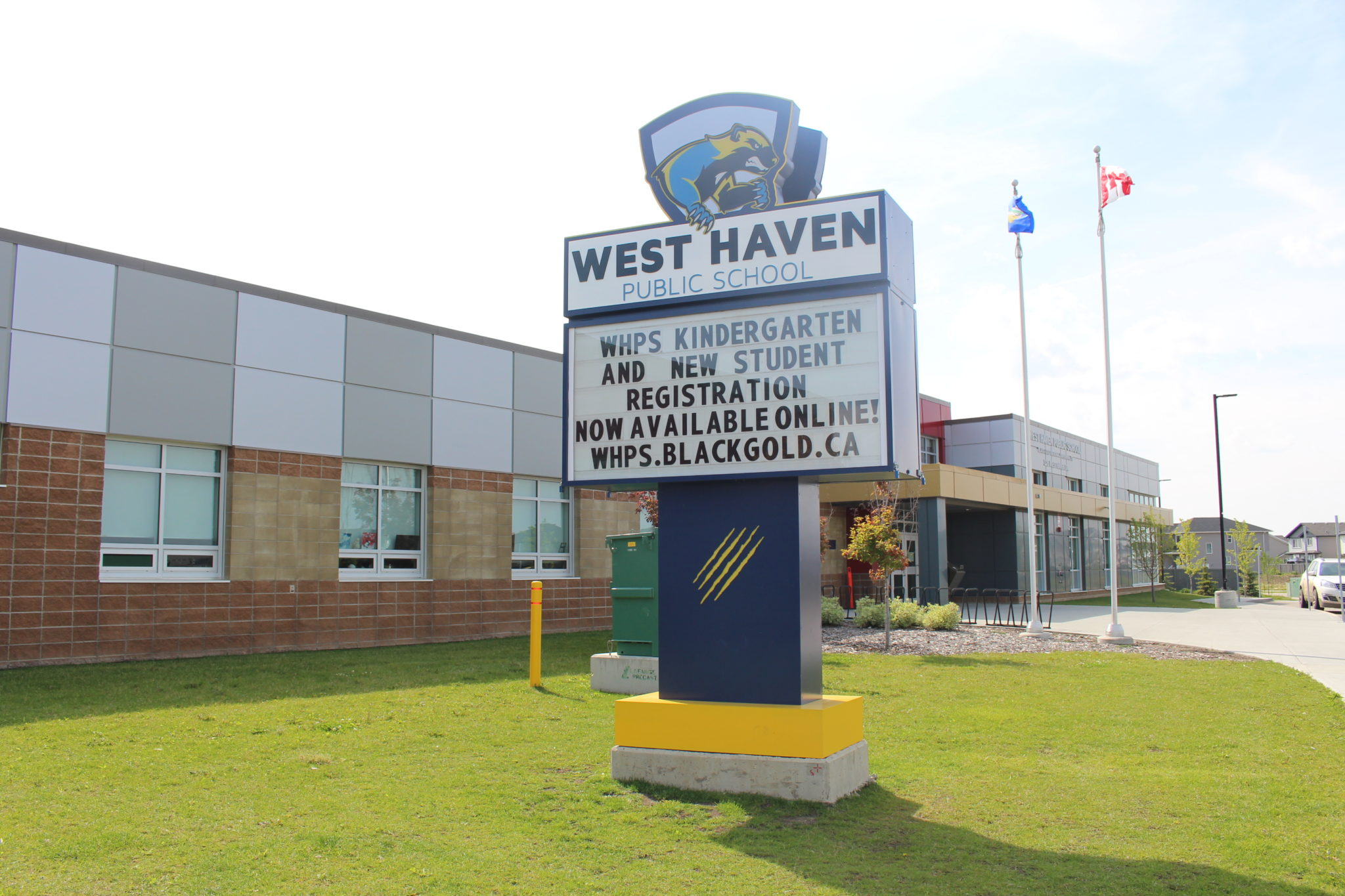 The school pylon sign at West Haven School in Leduc. Move to the City of Leduc and discover life here.